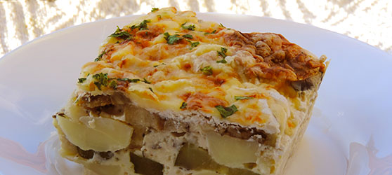 cartofi cu dovlecei si vinete la cuptor photo
