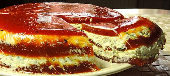 tort aperitiv cu suc de rosii si branza photo