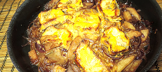 Cotlete cu mustar in sos de ceapa cu mere photo